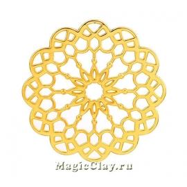 Коннектор Ажур Узоры 39мм, цвет золото, 1шт