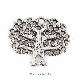 Коннектор Дерево 30х25мм, цвет серебро, 1шт