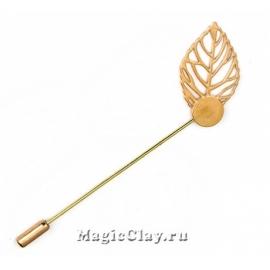 Булавка Лист 85х27мм, цвет золото, 1шт