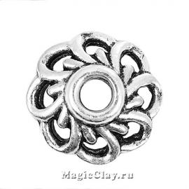 Шапочка для бусины Барбарис 10мм, цвет серебро, 6шт