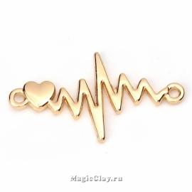 Коннектор Ритм Сердца Пульс 31х17мм, цвет золото, 1шт