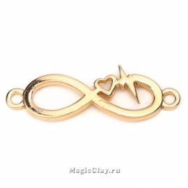Коннектор Ритм Сердца Бесконечность 33х11мм, цвет золото, 1шт