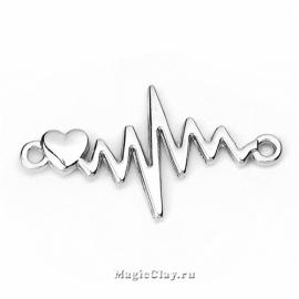 Коннектор Ритм Сердца Пульс 31х17мм, цвет серебро, 1шт