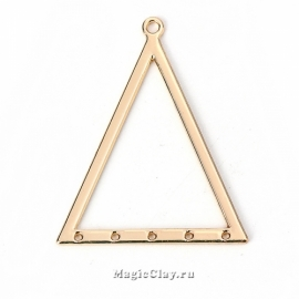 Коннектор Геометрия Треугольник 39х31мм, цвет золото, 1шт