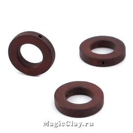 Бусины деревянные Кольцо, цвет кофейный 20мм, 6шт