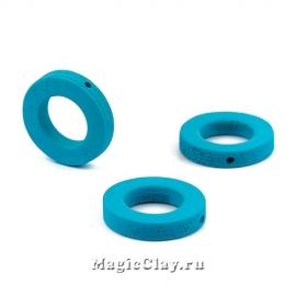 Бусины деревянные Кольцо, цвет бирюзовый 20мм, 6шт