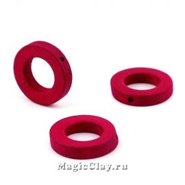 Бусины деревянные Кольцо, цвет вишневый 20мм, 6шт