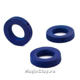 Бусины деревянные Кольцо, цвет темно-синий 20мм, 6шт