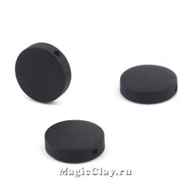 Бусины деревянные Круг, цвет черный 15мм, 10шт