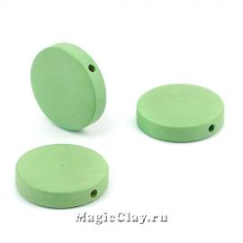Бусины деревянные Круг, цвет зеленый 20мм, 6шт