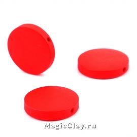 Бусины деревянные Круг, цвет красный 20мм, 6шт