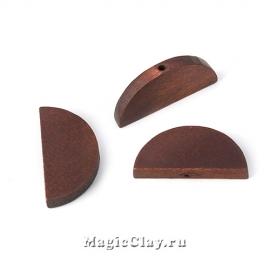 Бусины деревянные Полукруг, коричневый 30х14мм, 6шт