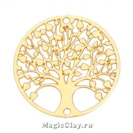 Филигрань Древо 20мм, цвет золото, 1шт