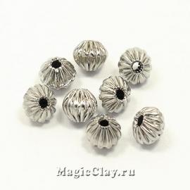 Бусина металлическая Рифленая 4мм, цвет серебро стальное,30шт