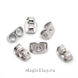 Заглушки для серег 6х4мм, цвет серебро стальное, 30шт