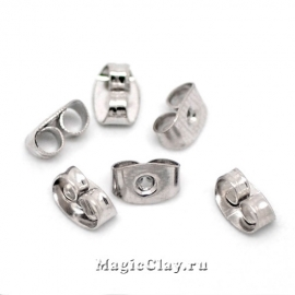 Заглушки для серег 6х4мм, цвет стальной, 7гр (~85шт)