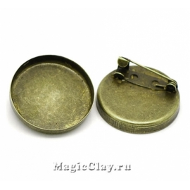 Основа для броши Круг с Рамкой 26мм, цвет бронза, 1шт