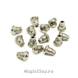 Заглушки для серег 6х5мм, сталь, 20шт