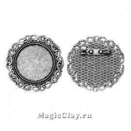 Основа для броши Муза 39мм, цвет серебро, 1шт