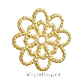Филигрань Цветочек 14мм, цвет золото, 20шт