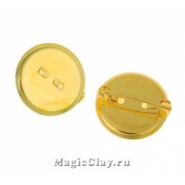 Основа для брошей и значков Круг 19мм, цвет золото, 5шт