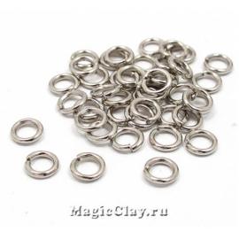 Колечки разъемные, цвет серебро стальное 5х1мм, 1уп (~200шт)
