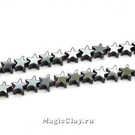 Бусины Гематит Звезда 6х6мм, цвет черный, 1нить (~40шт)