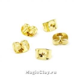 Заглушки для серег 6х4,5, сталь, цвет золото, 10шт