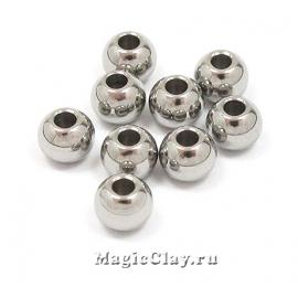 Бусина металлическая круглая 5х4мм, сталь, 10шт
