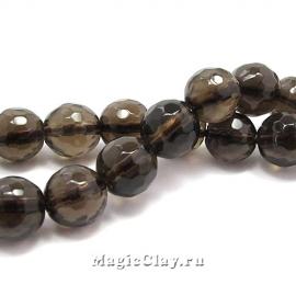 Бусины Кварц дымчатый, граненый 8 мм, 1 нить (~47шт)