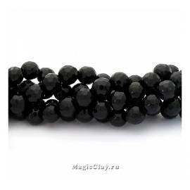 Бусины Агат черный, граненый 6 мм, 1 нить (~64шт)