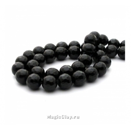 Бусины Агат черный, граненый 8 мм, 1 нить (~46шт)
