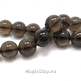 Бусины Кварц дымчатый, гладкий 12 мм, 1 нить (~33шт)