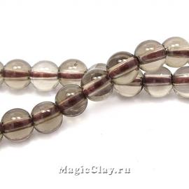 Бусины Кварц дымчатый, гладкий 4 мм, 1 нить (~98шт)