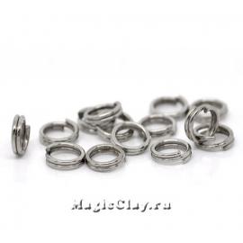 Колечки двойные 6х1мм, сталь, 1уп (~30шт)