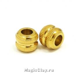 Бусина Колонна 12х10мм, сталь, цвет золото, 1шт