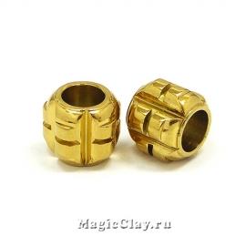 Бусина Бочонок 11мм, сталь, цвет золото, 1шт