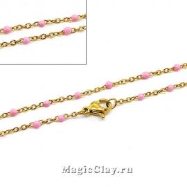 Цепочка Эмаль Розовая 2x2мм, с карабином, 45 см, сталь золото, 1 шт