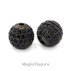 Бусина Круглая 10мм, Милано, цвет черная сталь, 1шт