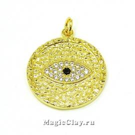 Подвеска Глаз Медальон 22х2мм, цвет золото, 1шт