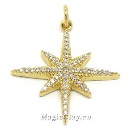 Подвеска Звезда 25х23мм, цвет золото, 1шт