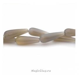 Бусины Агат серый, капля 30х10 мм, 1 шт