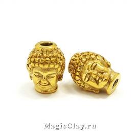 Бусина Голова Будды 10х13мм, сталь, цвет золото, 1шт