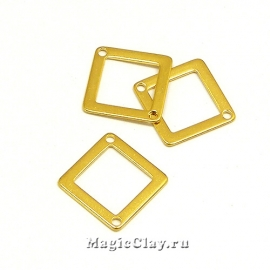 Коннектор Ромб 18мм, сталь, цвет золото, 6шт
