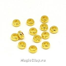 Рондели Круг плоский 4х2мм, сталь, цвет золото 20шт
