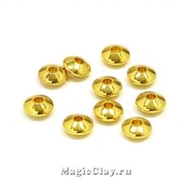 Рондели Биконус 6х3мм, сталь, цвет золото 10шт