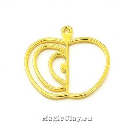 Рамка для кулона Яблоко 31х30мм, цвет золото, 1шт