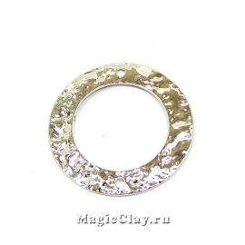 Коннектор Камень Кольцо 21мм, Real Platinum, 1шт