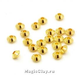 Рондели Биконус 4х3мм, Милано, цвет золото, 20шт