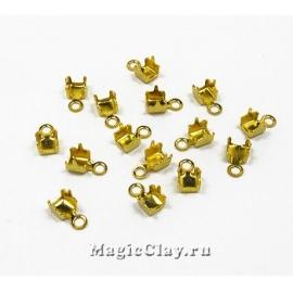 Концевики для цепочек со стразами 2,2мм, цвет золото, 20шт